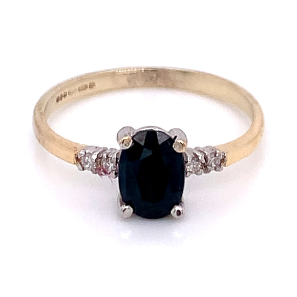 Oval Sapphire with Side Diamond Detail