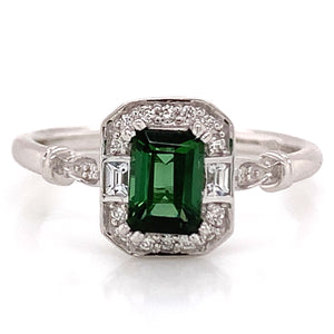 9ct White Gold Emerald Cut Green Tourmaline with White Sapphire & Diamond Vintage Style Ring