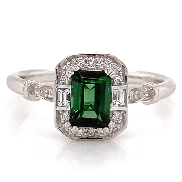 .60CT EMERALD CUT GREEN TOURMALINE RING WITH WHITE SAPPHIRE & DIAMOND 9CT WHITE GOLD MOUNTING.