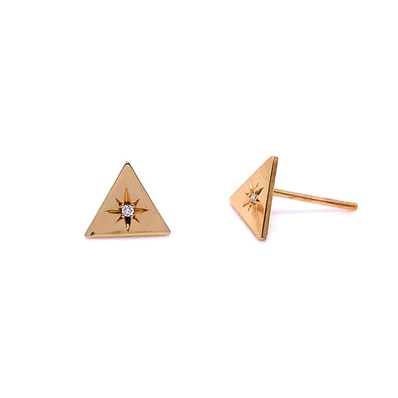 Anma 14ct Gold Triangle Flat Stud With Diamond