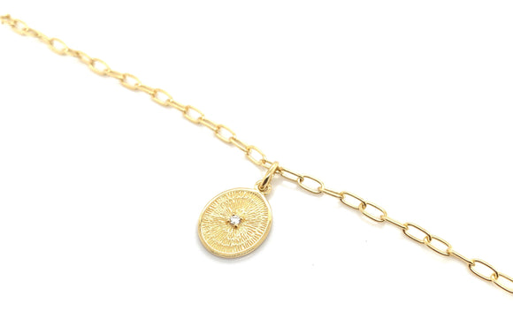 Sterling Silver And Gold CZ Centre Coin Bracelet