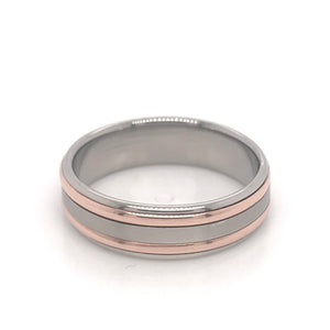 9ct Rose Gold and Palladium 950 Gents band