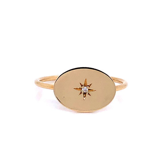 Anma 14ct Yellow Gold Oval Signet Set With Diamond Ring