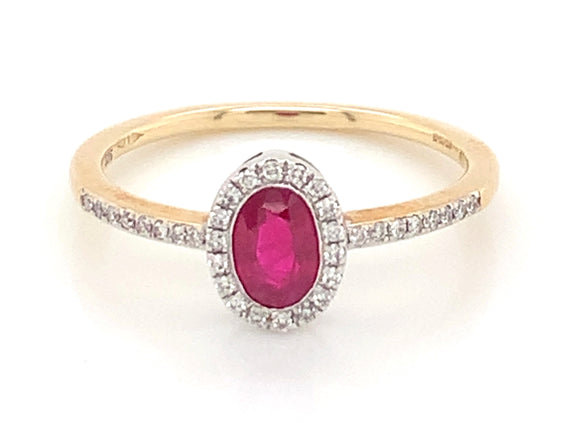 9ct Yellow Gold Oval Ruby And Diamond Halo Ring With Diamond Set Shoulders