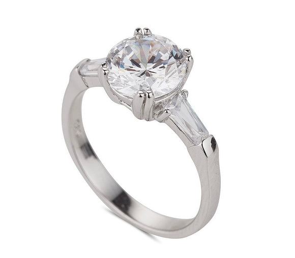 Sterling Silver Cz Solitaire And Baguette Ring