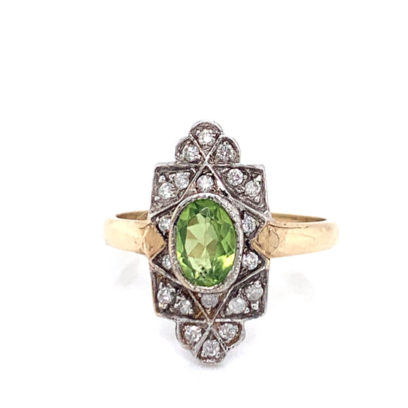 9ct Gold Oval Peridot & Diamond Vintage Style Ring