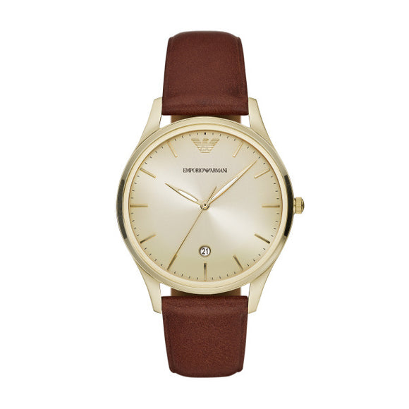 Armani Gents Adriano Brown Leather Strap And Gold Case Watch AR11312