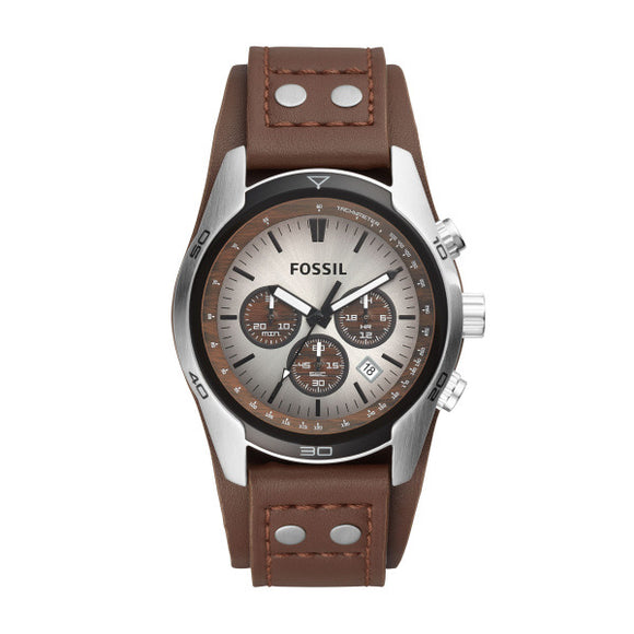 Fossil Gents Coachman Brown Leather Strap Watch CH2565