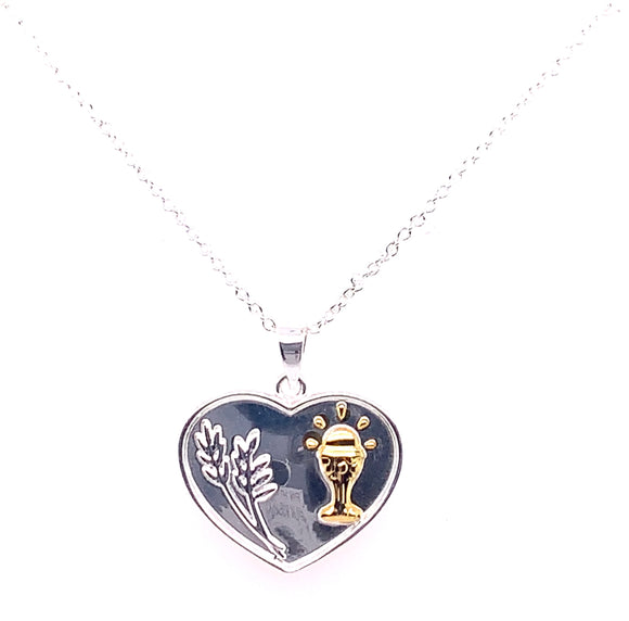Newbridge Two Tone First Communion Heart Pendant