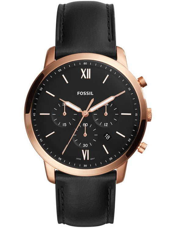Fossil Neutra Chrono Black Leather Strap Gents Watch FS5381