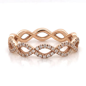 18ct Rose Gold Twisted Wedding Band