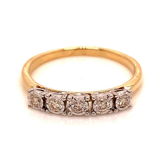 9ct Yellow Gold 5 STONE .21CT Eternity Ring