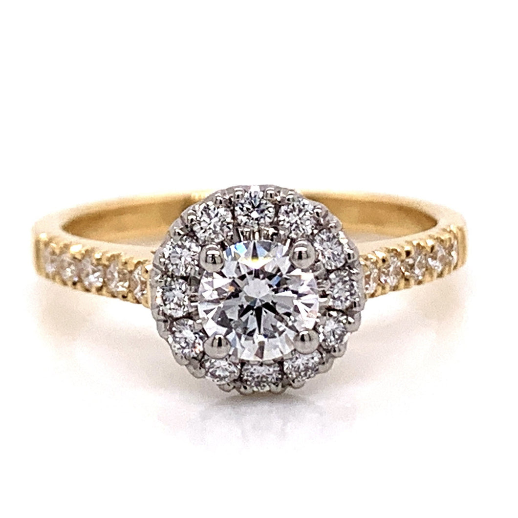 18ct Yellow Gold Castle set Halo With Platinum Head