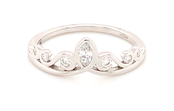 18ct White Gold Crown Diamond Band