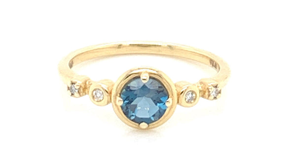 14ct Gold London Blue Topaz And .046ct Diamond Ring