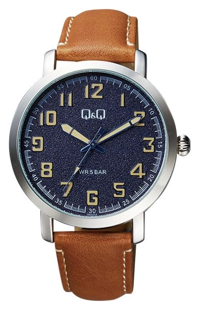 Q & Q Gents Tan Leather Strap With Blue Face Watch