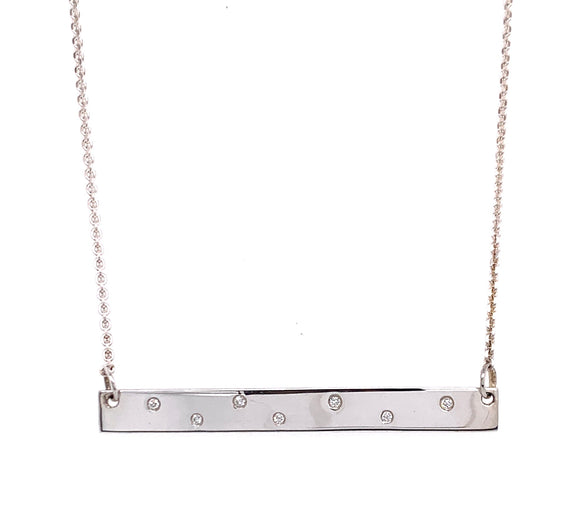 Tadgh Óg Bar Sterling Silver with Diamonds Dancing Necklace