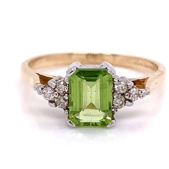 Emerald Cut Peridot with Diamond Trio 9ct Gold