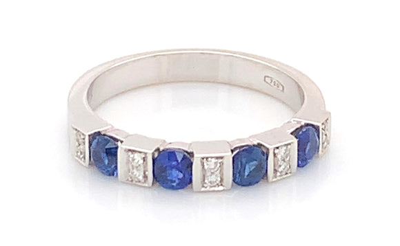 18ct White Gold 0.80ct Sapphire And 0.15ct Diamond Ring
