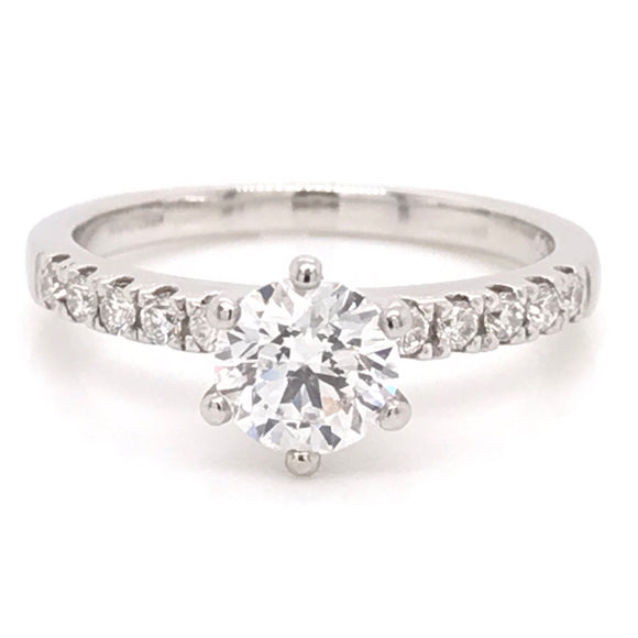 Six Claw Solitaire Diamond Engagement Ring