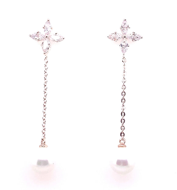 Tipperary Crystal Silver Cz Flower Earrings With Drop Pearl
