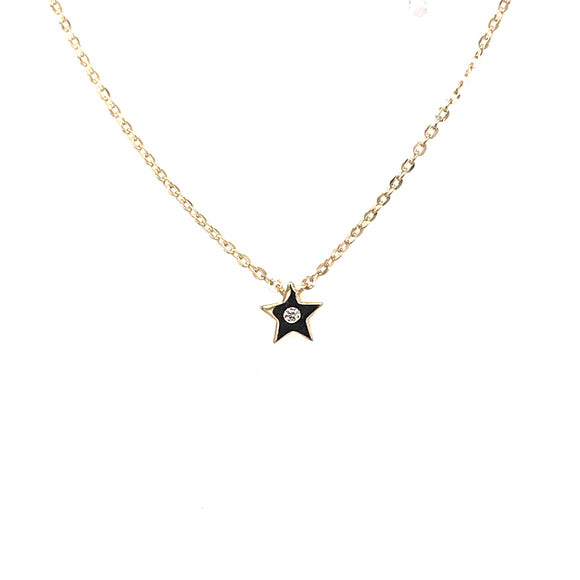 9ct Gold Tiny Star and Cz Pendant GA46328
