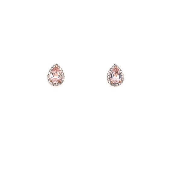 9ct Rose Gold and Morganite Pear Earrings