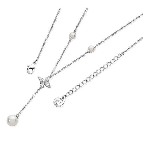 Tipperary Crystal Silver Star Long Drop Necklace 117754