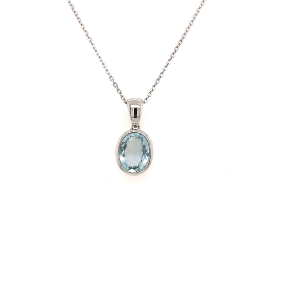 9ct White Gold and Aquamarine