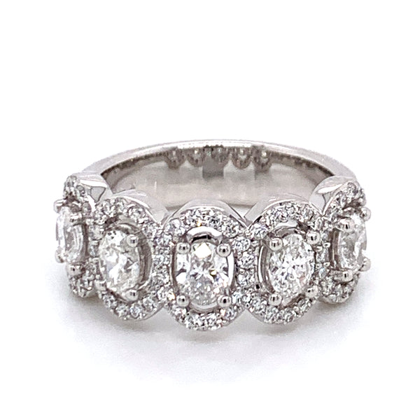 5 Stone 1.51ct Diamond Oval Halo Band
