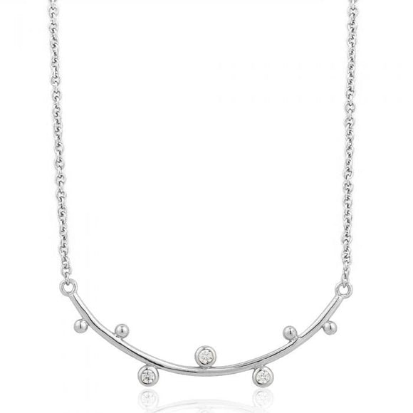 ANIA HAIE Touch of Sparkle Shimmer Stud Bar Necklace Silver
