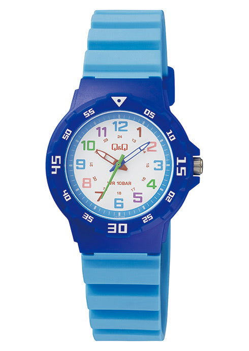 Q & Q Boys Blue And Baby Blue Silicone Strap Watch