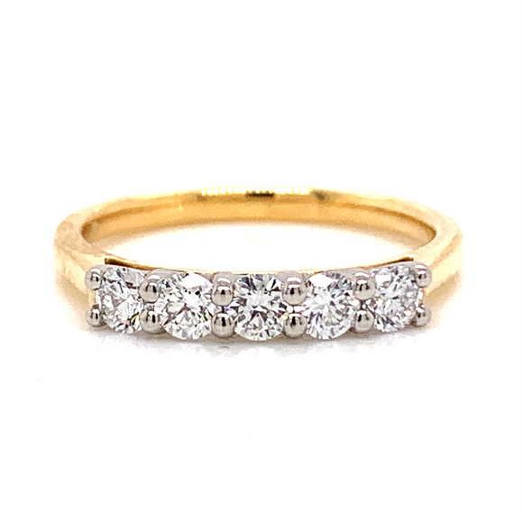 18ct Yellow Gold 0.50ct 5 Stone Eternity Ring