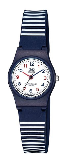 Q & Q Boys Small Navy And White Striped Silicone Strap Watch