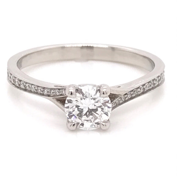 Platinum Solitaire with a detailed band Diamond Engagement Ring