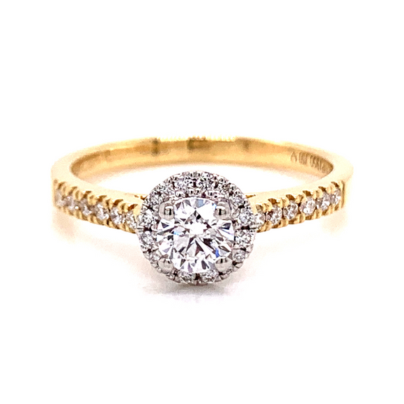 18ct Yellow Gold Castle Set Round Halo
