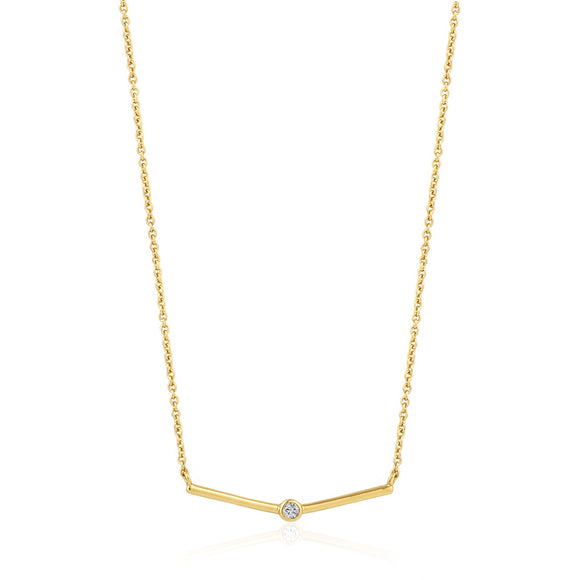 ANIA HAIE Shimmer Single Stud Necklace Gold