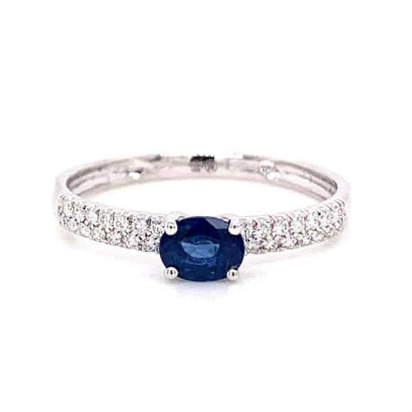 18ct White Gold Kanchanaburi Sapphire & Diamond Ring