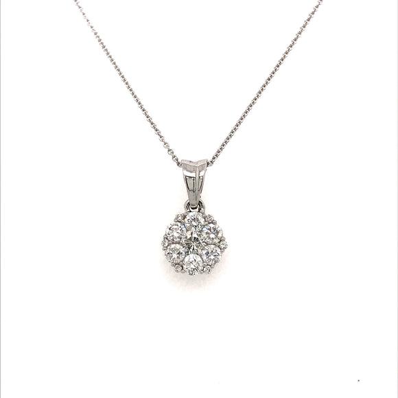 Diamond Flower Pendant White Gold