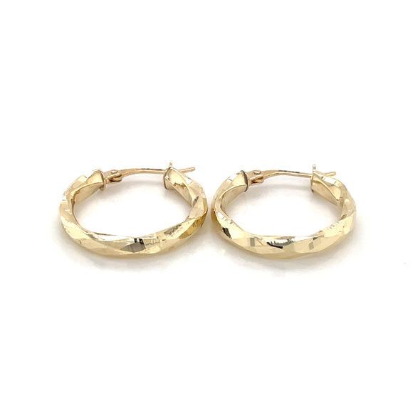 9CT YELLOW GOLD 18.5MM DIAMOND CUT FACETED HOOP CREOLE EARRINGS