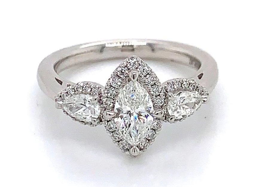 Platinum Marquise Halo Ring