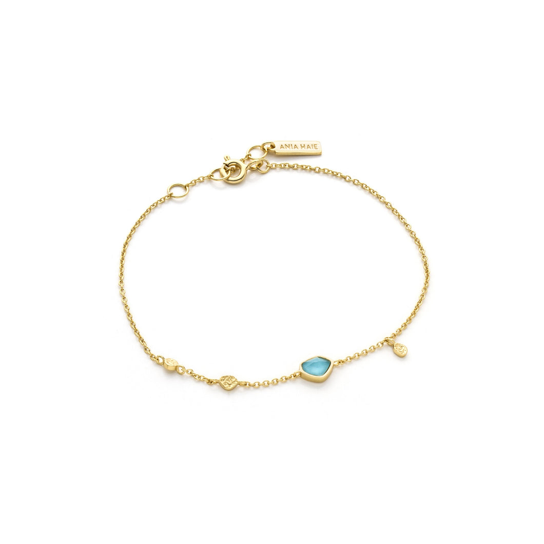 Ania Haie Mineral Glow Turquoise Disc Bracelet Gold