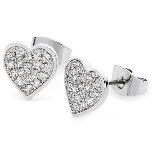 Tipperary Crystal Silver Pave Heart Stud Earrings
