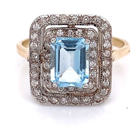 Emerald Cut Topaz with Double Halo