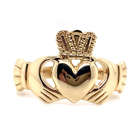 9ct Yellow Gold Gents Claddagh Ring