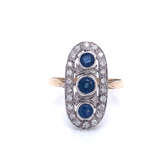 9ct Gold Diamond & Kanchanaburi Sapphire Trio Vintage Style Ring
