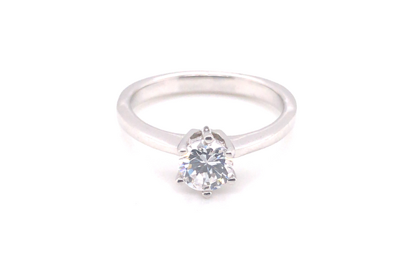 Sterling Silver 6 Claw Solitaire Cz Ring