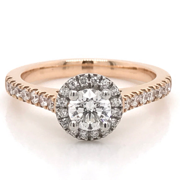 Round Brilliant cut with Halo on a Rose Gold Diamond Engagement Ring