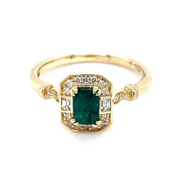Emerald cut .70ct Emerald in Diamond & White Sapphire Vintage Style Mounting