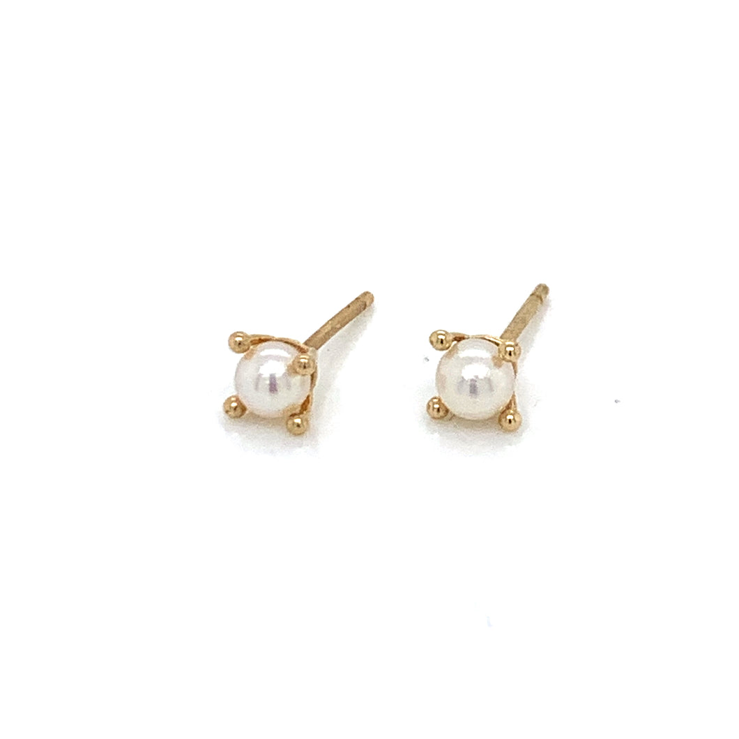9ct Gold & Freshwater Pearl 4 ball earring